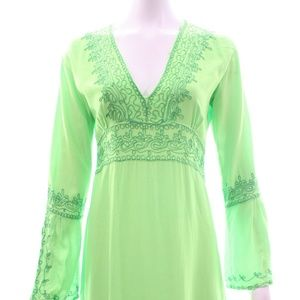 CALYPSO GREEN EMBROIDERED DRESS SIZE XS